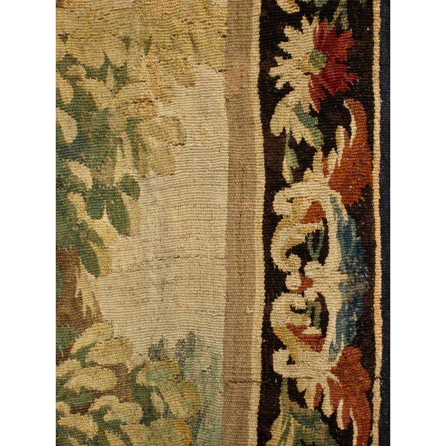 Silk 1700s French Aubusson Verdure Tapestry Wall Hanging For Sale - Image 7 of 11