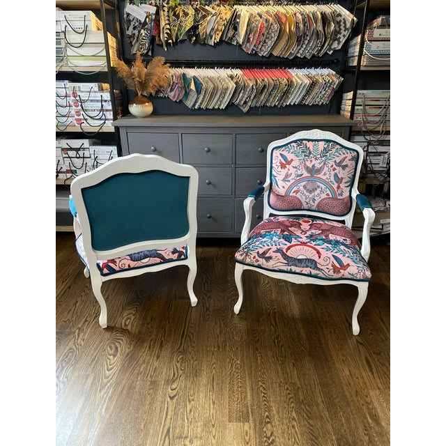 Bubble Gum Vintage French Provincial Arm Chairs - a Pair For Sale - Image 8 of 10