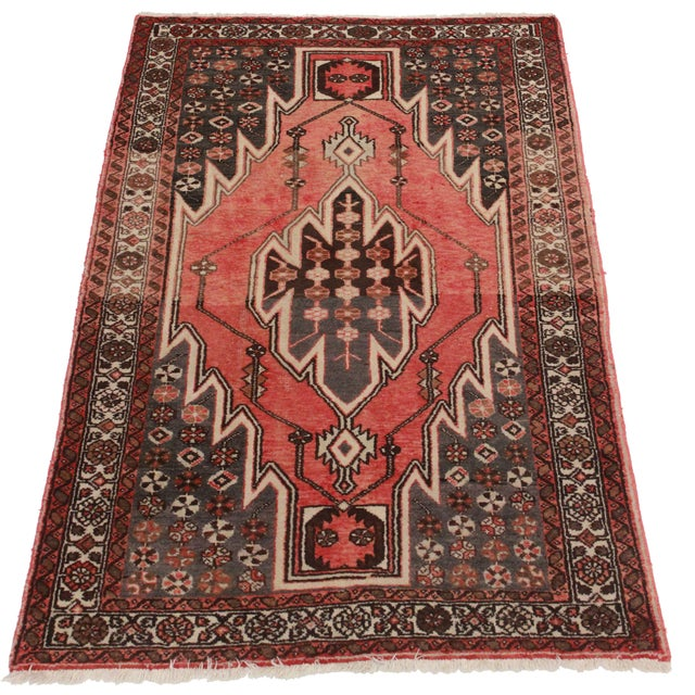Vintage Hand-Knotted Wool Persian Hamedan Area Rug - Image 2 of 2