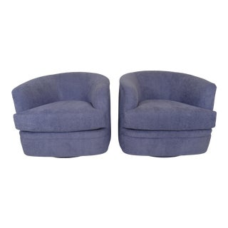 1980s Milo Baughman Swivel Lounge Chairs - a Pair For Sale