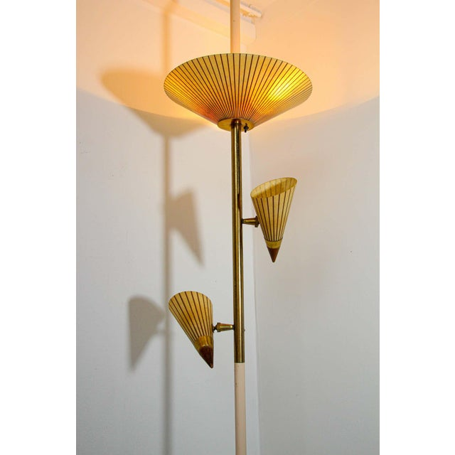 Brown 1950s Adjustable Vintage Three Shades Extension Pole Lamp by Gerald Thurston For Sale - Image 8 of 13