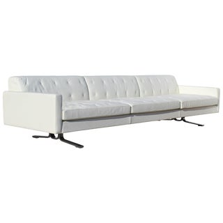 Over-Scale Poltona Frau 'Italy' Leather and Stainless Steel Sofa For Sale