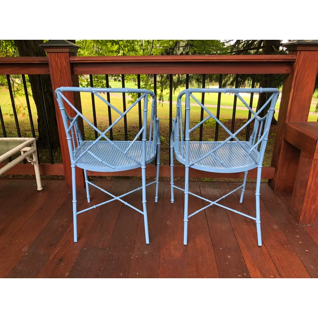 1970s Vintage Cast Aluminum Chinese Chippendale Faux Bamboo Barrel Chairs- A Pair For Sale - Image 10 of 13
