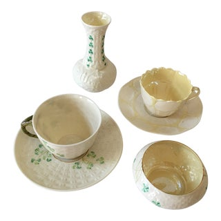Irish Belleek Porcelain Tea Cups and Saucers With Vase and Sugar Bowl - 6 Piece Set For Sale