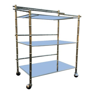 1970s Contemporary Brass & Smoked Glass Bamboo Bar Cart For Sale