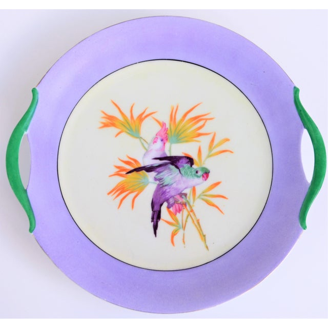 Antique Lilac Moschendorf Bavaria Cake Plate With Parrots For Sale - Image 10 of 10
