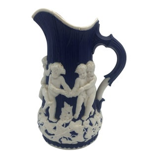 1850s T. J. & J Mayer Relief Parian Pitcher For Sale