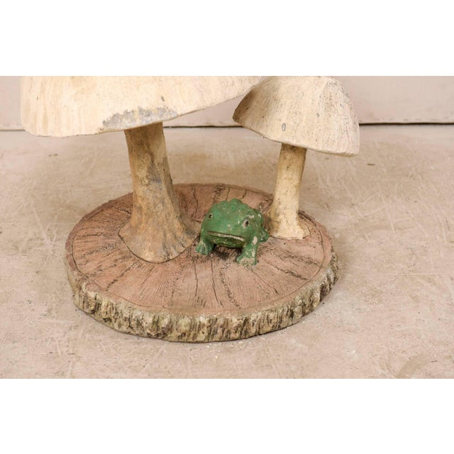 Mid 20th Century Tall Mushrooms and Frogs Garden Sculpture on Faux Bois Slab Base For Sale - Image 5 of 11