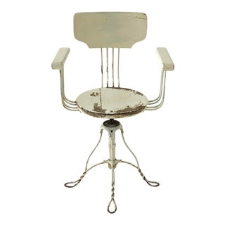 Antique Adjustable White-Washed Wrought Iron and Wood Barber Chair, Circa 1910s For Sale