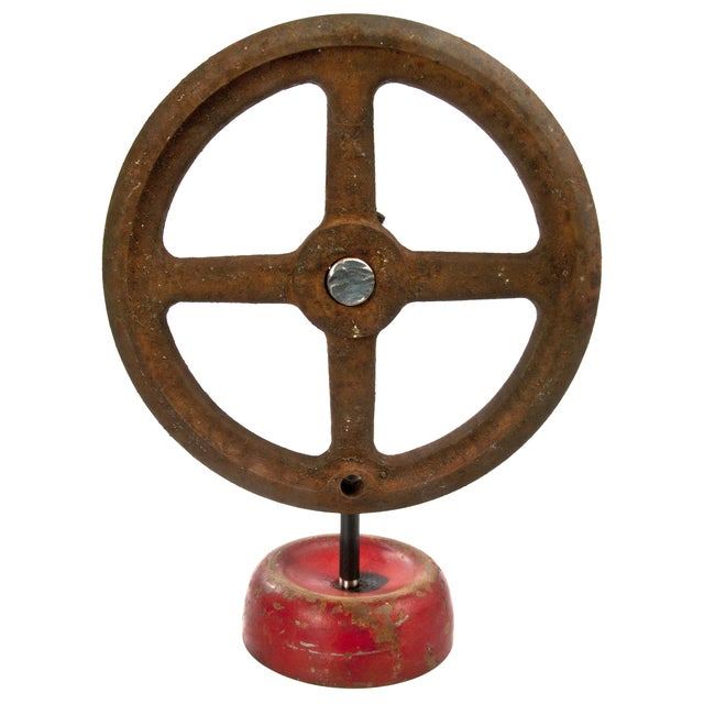 Vintage Industrial Cast Iron Valve Handle on Stand For Sale