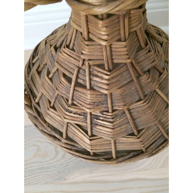 Green Vintage French Country Wicker Wrapped Demijohns With Handles - a Pair For Sale - Image 8 of 9