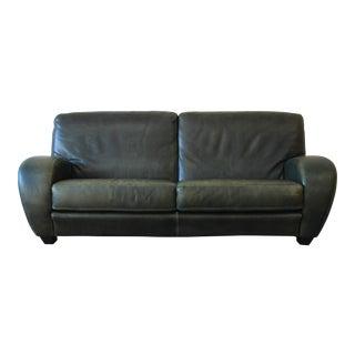 Roche Bobois Art Deco Green Leather Sofa For Sale