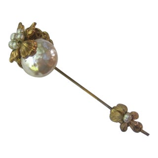 Miriam Hakell Glass Pearl Stick Pin For Sale