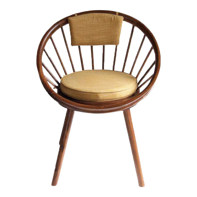 Yngve Ekstrom Design Teak Circle Chair With Cushions For Sale
