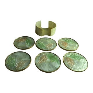 Mother of Pearl Cadiz Shell Coasters - Set of 6 For Sale