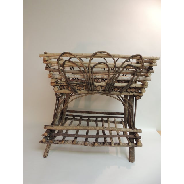 Vintage Willow and Wicker Large Plant Stand - Image 2 of 6