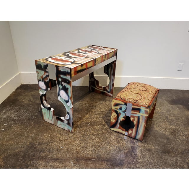 Yellow Graffitied Artist Painted 1970s Desk or Vanity - a Pair For Sale - Image 8 of 9