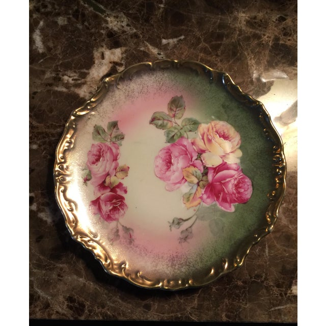 Antique Wheelock Hand Painted Roses Plate For Sale - Image 4 of 4