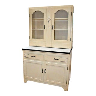 Antique Early 20th Century Art Deco Style 2 Piece Hoosier Kitchen Cabinet in Ivory For Sale