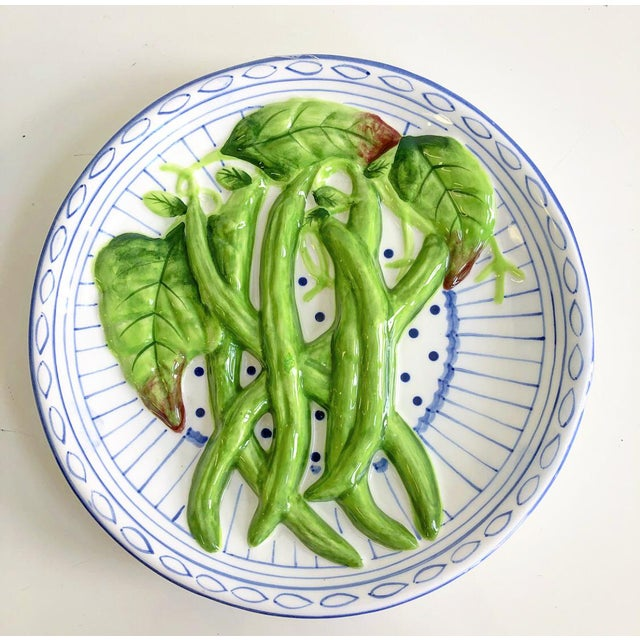 Vintage Decorative Blue & White Plate With Carved Green Beans - Image 6 of 6
