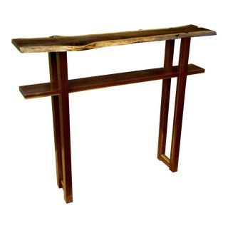 Walnut Slab Sofa Table Console For Sale