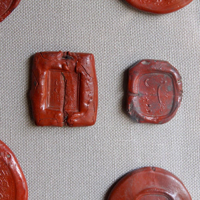 Framed Red Intaglio Wax Seals Collages - a Pair For Sale - Image 4 of 13