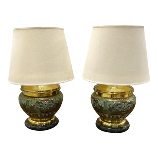 1960s Brass Enamel Lamps - a Pair For Sale