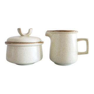 Vintage Stoneware Sugar Bowl & Creamer Set by Mikasa - a Pair For Sale