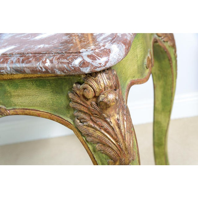 Wood Antique Painted & Parcel Gilt Louis XV Style Console Table With Marble Top For Sale - Image 7 of 12