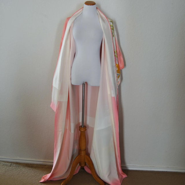 Gold Embroidery Japanese Silk Kimono For Sale - Image 4 of 7