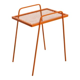 Vintage Mid-Century Modern Atomic Orange Metal Tall End Table For Sale