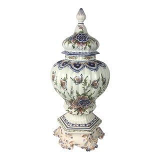 Tall Late 19th-Early 20th Century French Provencal Hand-Painted Ceramic Centerpiece For Sale