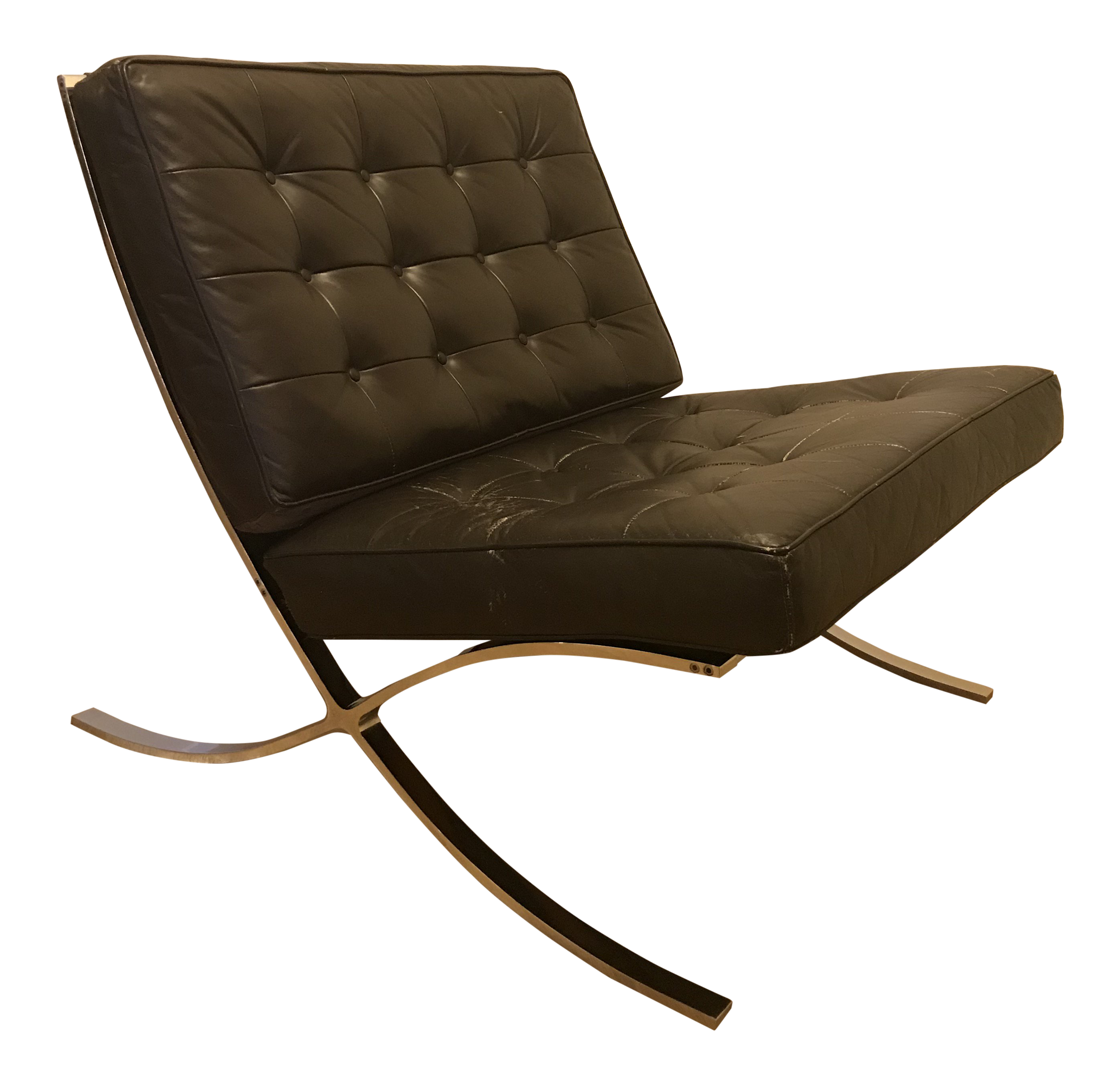 Merveilleux Vintage Knoll Barcelona Chair In Italian Leather