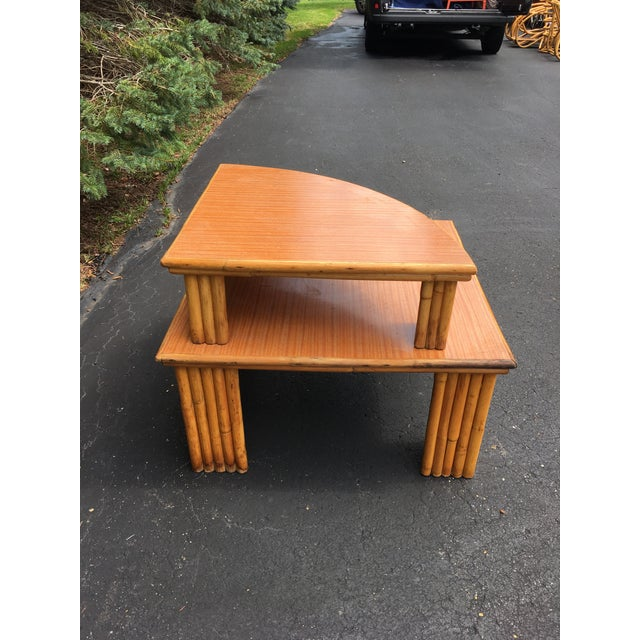 Mid-Century Rattan 2-Piece Table For Sale - Image 4 of 6