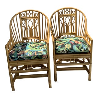 Vintage Brighton Pavilion Style Rattan Chairs - a Pair For Sale