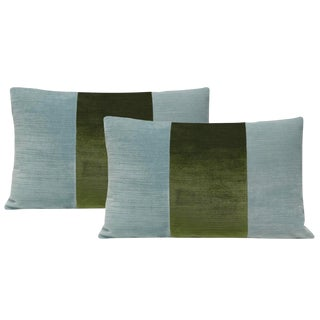 "12""x18"" Cerulean Blue and Peridot Strie Velvet Lumbar Pillows - a Pair For Sale"