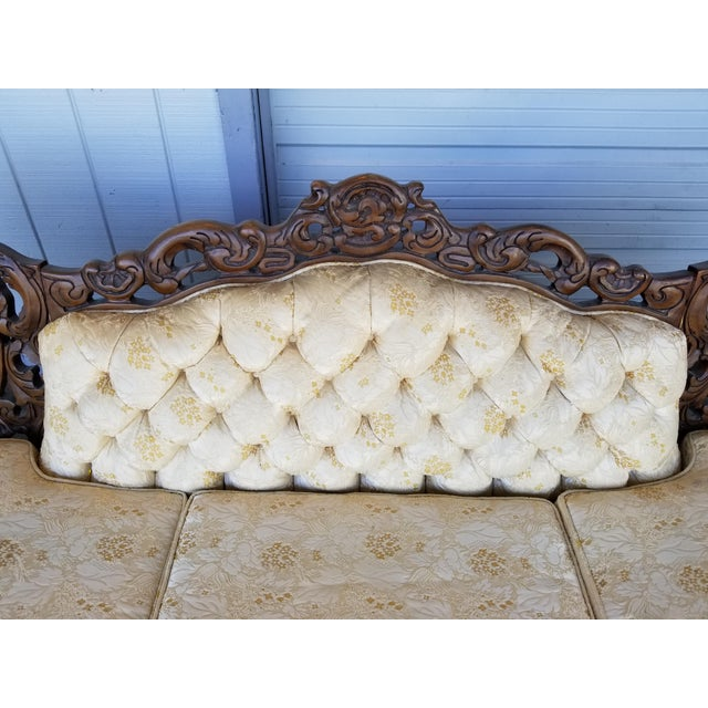 Vintage Victorian Carved Wood Sofa For Sale In Providence - Image 6 of 10