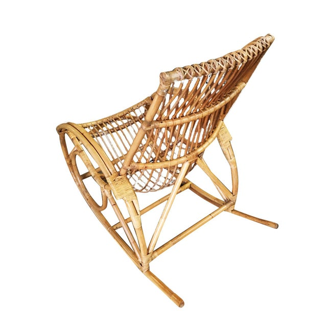 Franco Albini Restored Oversized Stick Rattan Rocking Chair in the Style of Franco Albini For Sale - Image 4 of 12
