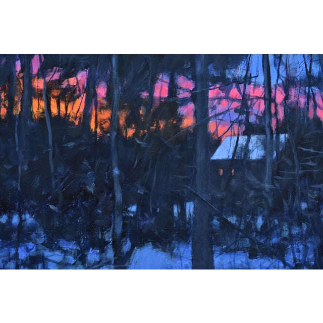 """Contemporary """"Sunrise From the Woods"""" Contemporary Landscape Acrylic Painting by Stephen Remick, Framed For Sale - Image 3 of 11"""