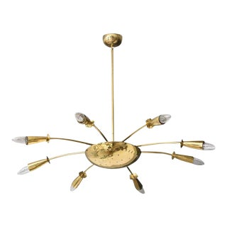 Brass Chandelier Style of Stilnovo For Sale