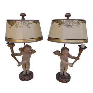 Pair of 19th C. Italian Cherub Lamps W/ Parchment Shades For Sale