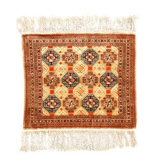 1910s Antique Hereke Geometric Beige Silk Rug- 2′3″ × 2′7″ For Sale