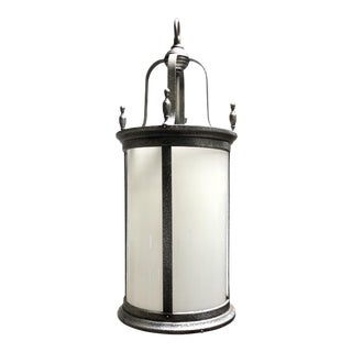 Vintage Large Outdoor Pendant Lantern Light Fixture For Sale