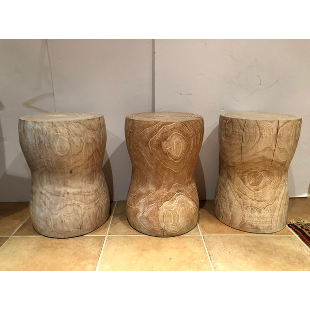 Wood 1980s Vintage Limed Oak Stools- Set of 3 For Sale - Image 7 of 8