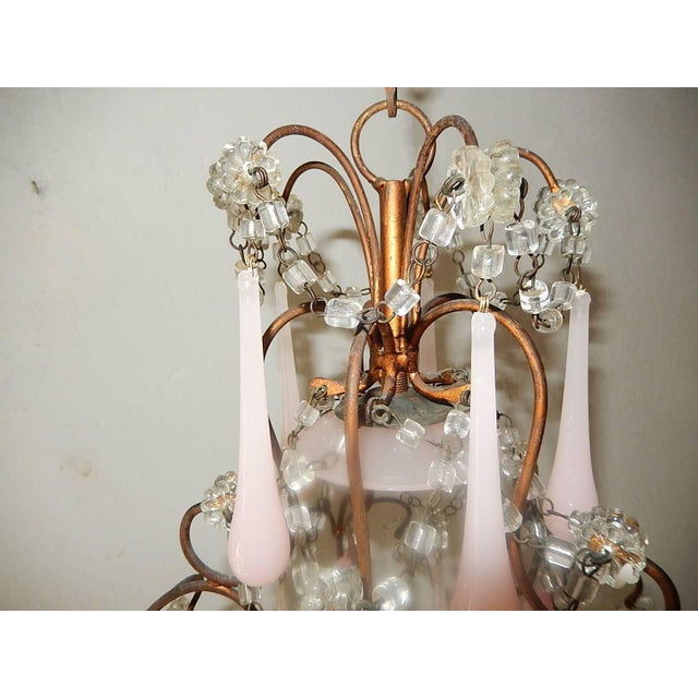 Gold French Pink Opaline Murano Drops Chandelier, circa 1920 For Sale - Image 8 of 9