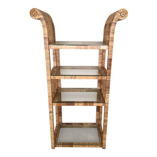 Billy Baldwin Style Lacquered Wrapped Rattan Etagere
