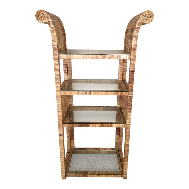 Billy Baldwin Style Lacquered Wrapped Rattan Etagere - Image 1 of 10