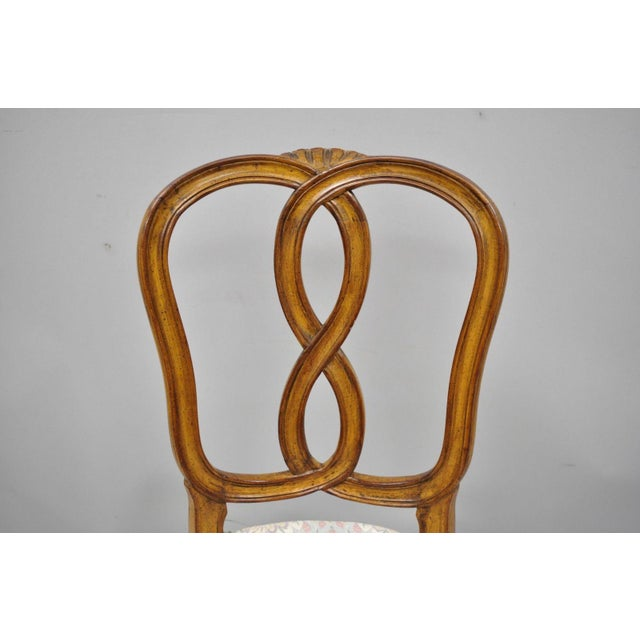1950s 1950s Vintage French Provincial Pretzel Back Spiral Carved Dining Chairs- Set of 6 For Sale - Image 5 of 13