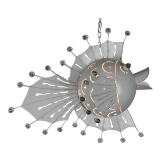 Metal Blowfish Accent Chandelier For Sale
