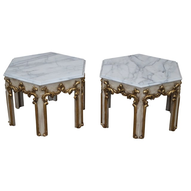 Hollywood Regency Partial Gilt Side Tables - Pair - Image 1 of 10
